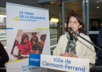 Anne-Gaëlle Baudouin-Clerc, préfète du Puy-de-Dôme, inaugure l'ouverture du Train de la solidarité à Clermont-Ferrand