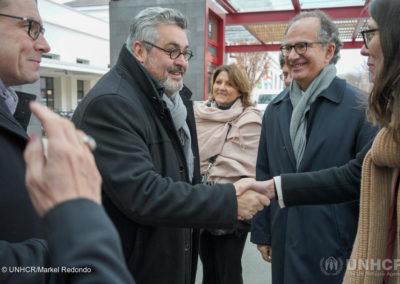 Olivier Bianchi, maire de Clermont-Ferrand accueille les représentants de l'UNHCR France en gare de Clermont-Ferrand